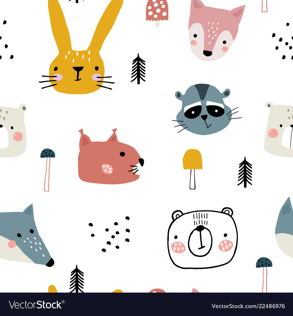 Semless woodland pattern with cute animal faces