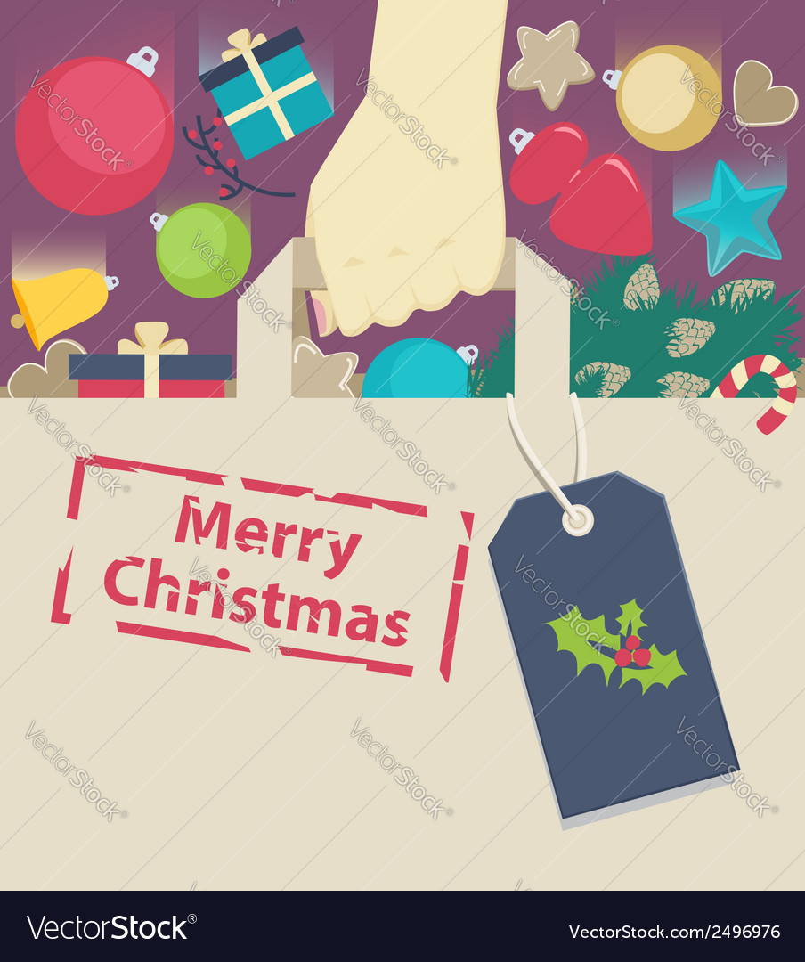 Shopping paper bag stamped with Christmas wish vector image