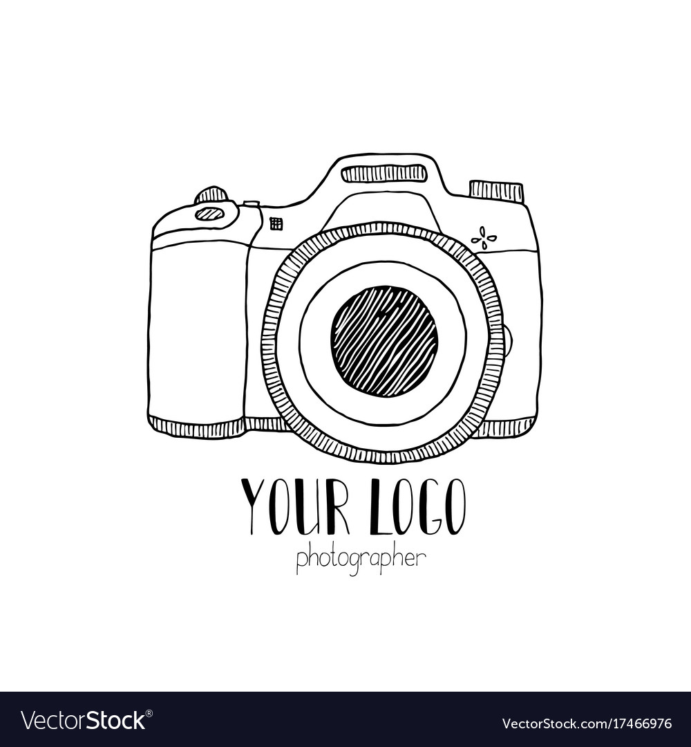 Sketch a photo camera drawn hand vector