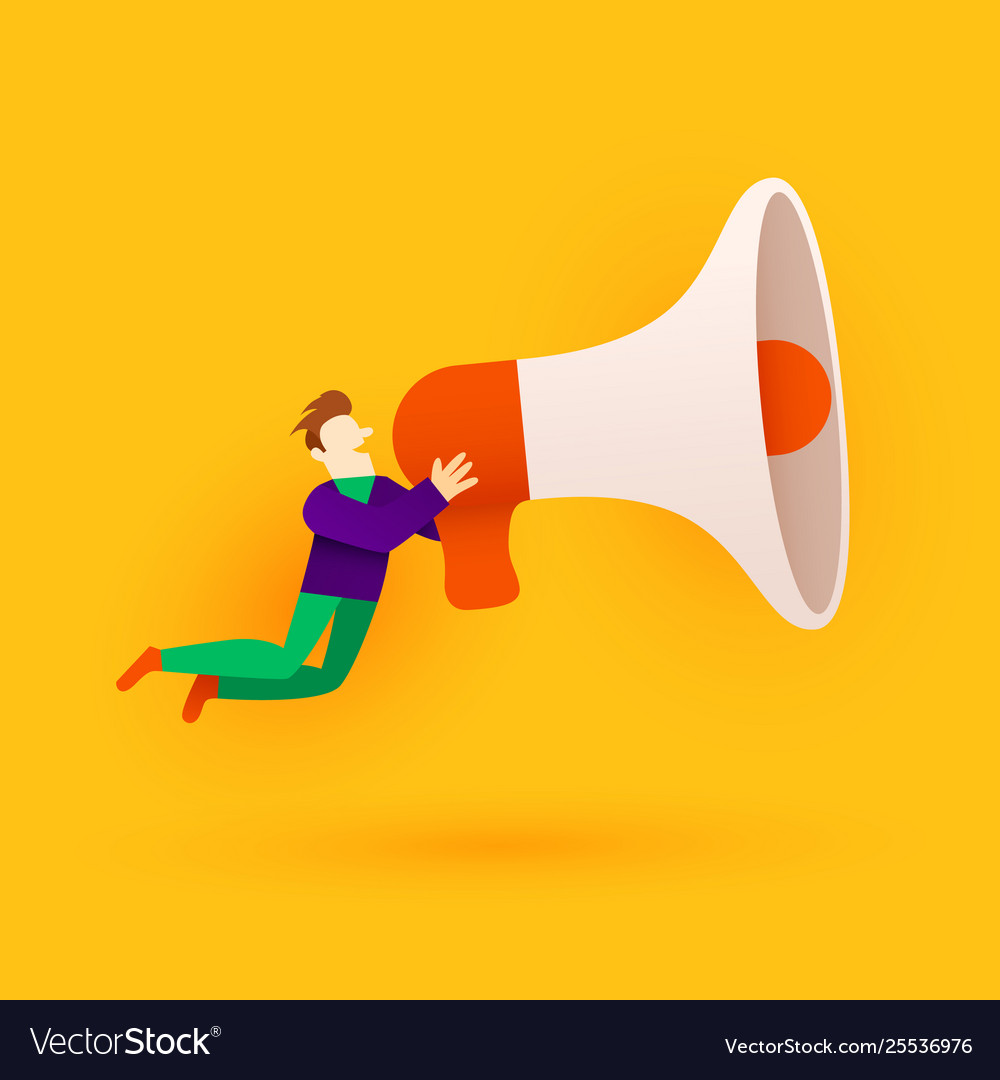 Small cartoon man with megaphone announcement or