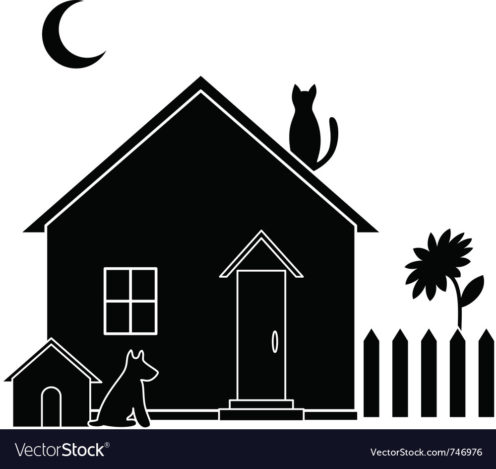 small house silhouette royalty free vector image rh vectorstock com tree house silhouette vector house silhouette vector png