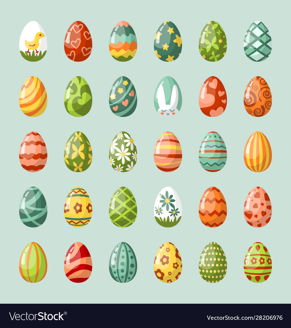 Traditional painted easter eggs flat