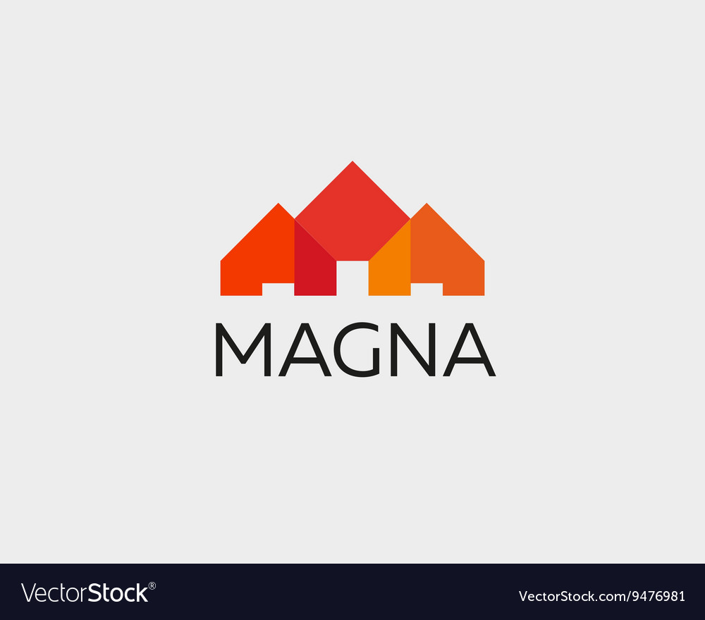 Abstract house logo design template Colorful real
