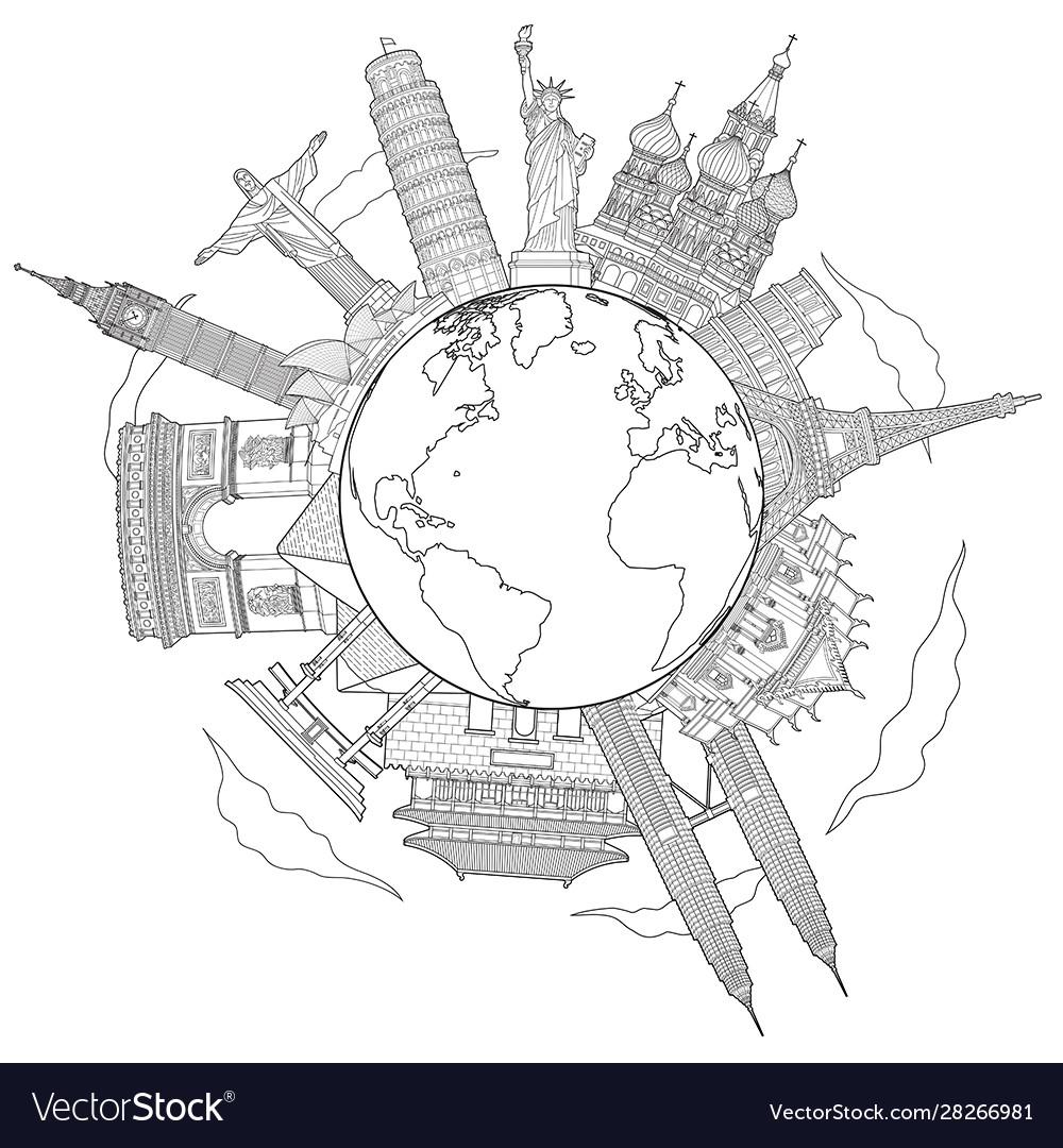 Around world travel famous landmark doodle