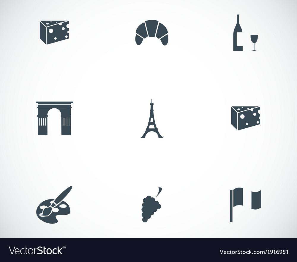 Black paris icons set