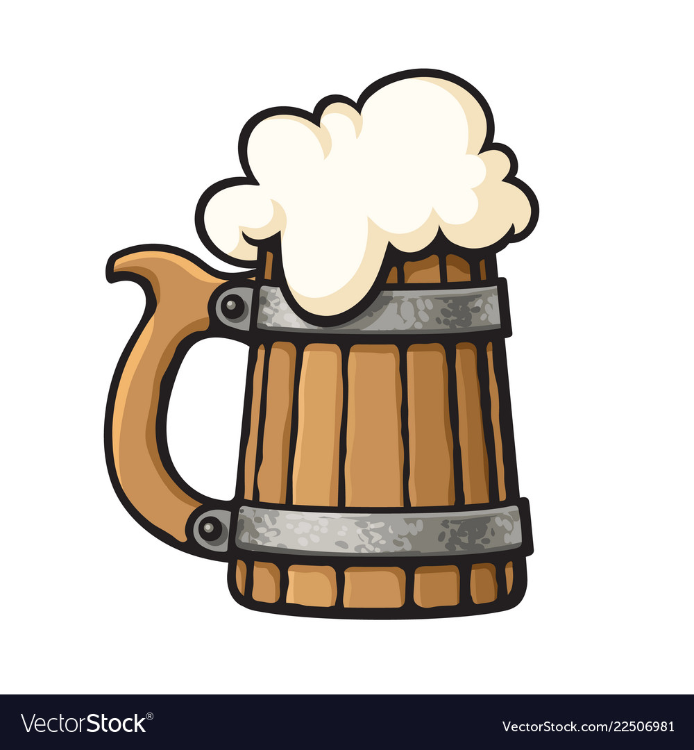 Cartoon Old Wooden Beer Mug With Foam Design Vector Image