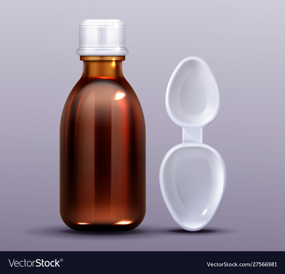 Cough Syrup Bottle And Plastic Spoon Pharmacy Vector Image