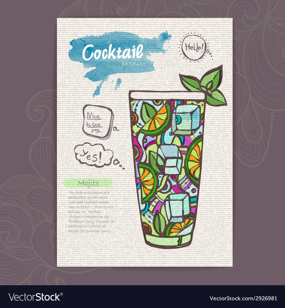 Decorative sketch of cocktail