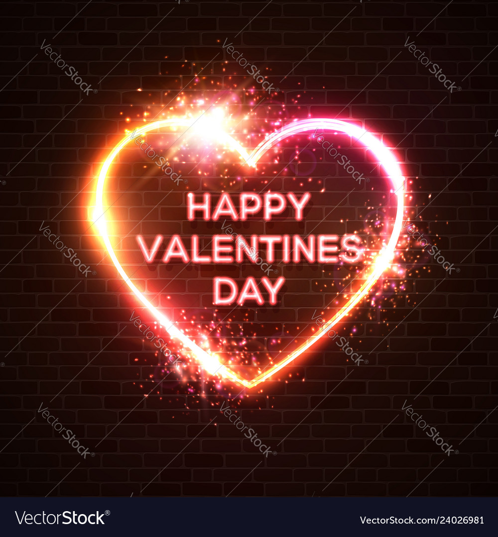 Happy valentines day neon card hearts background