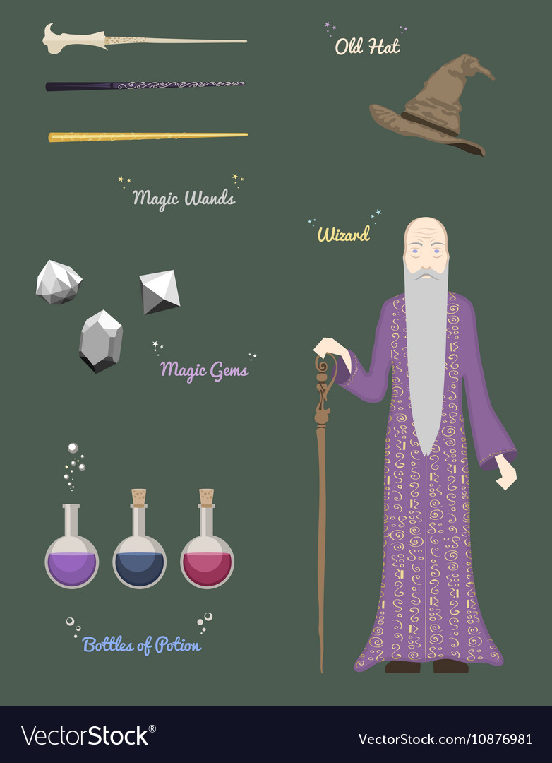 Magic Wizard with stones and things magical