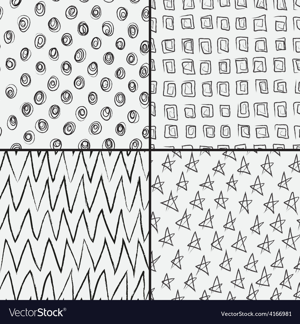 Set of abstract doodles with squares circles stars