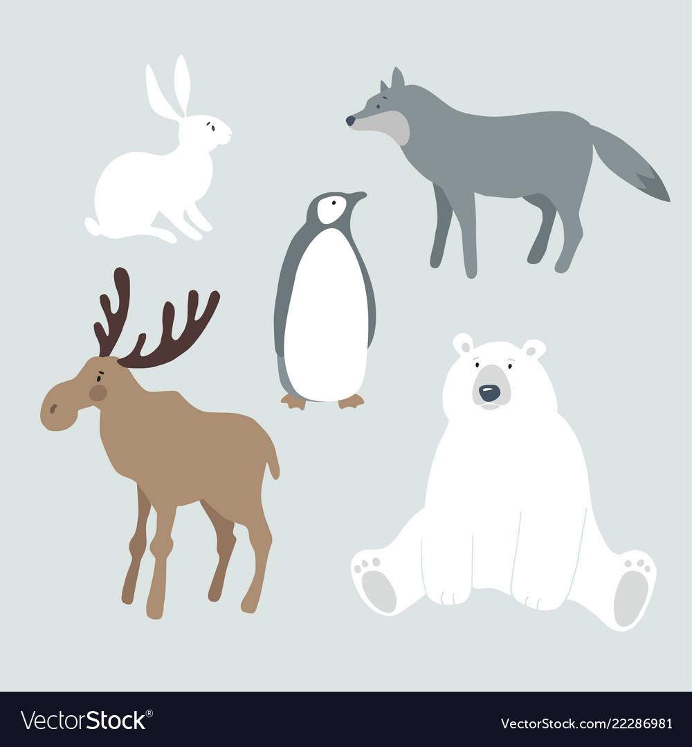 Set of wild winter animals and bird cute polar