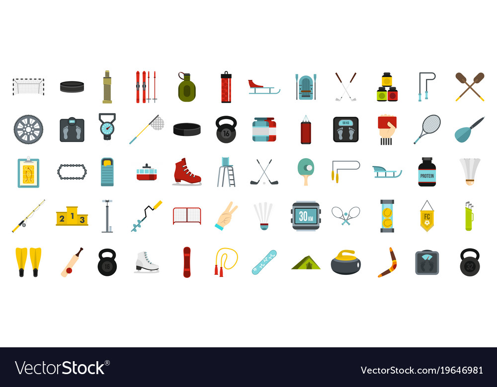 Sport equipment icon set flat style vector image