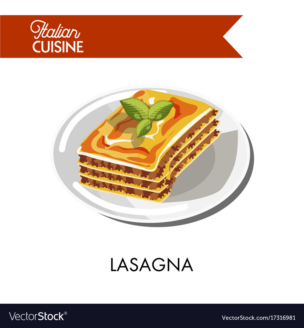 Tender lasagna decorated with herbs on shiny plate