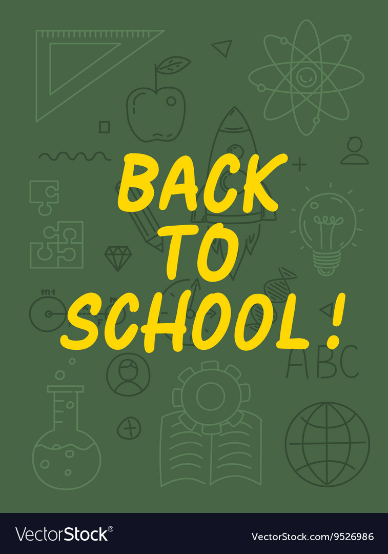 Back to school text with various education icon