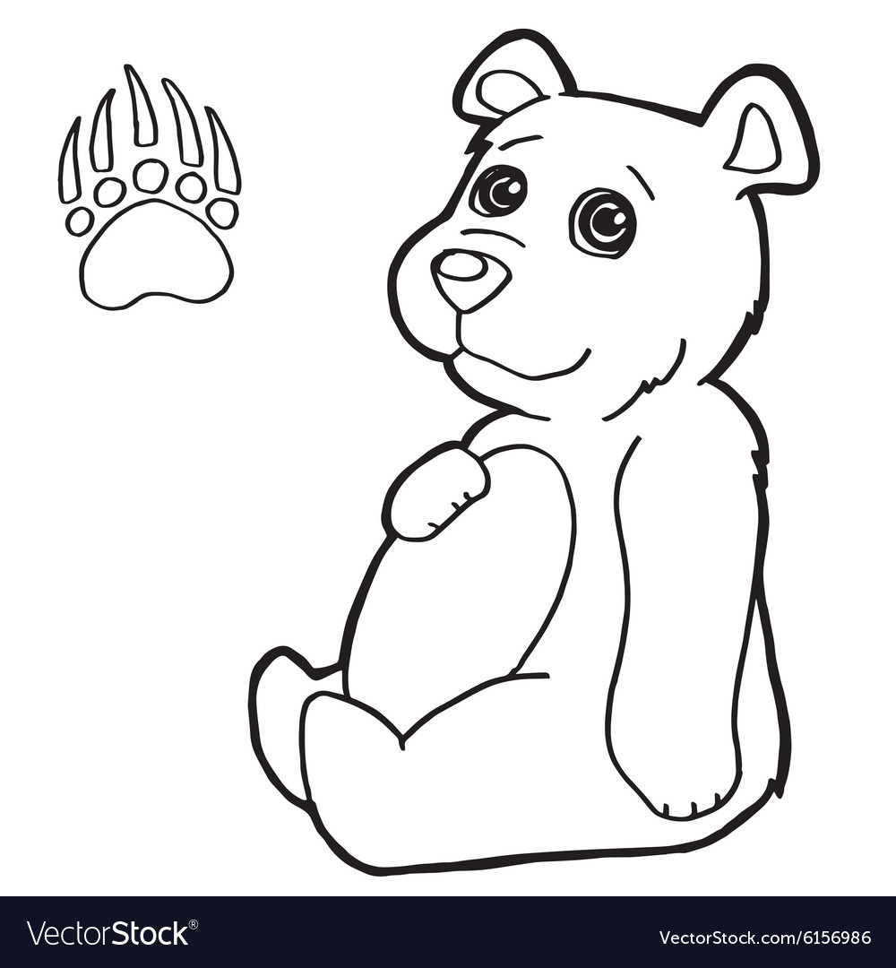 Bear With Paw Print Coloring Pages Vector Image