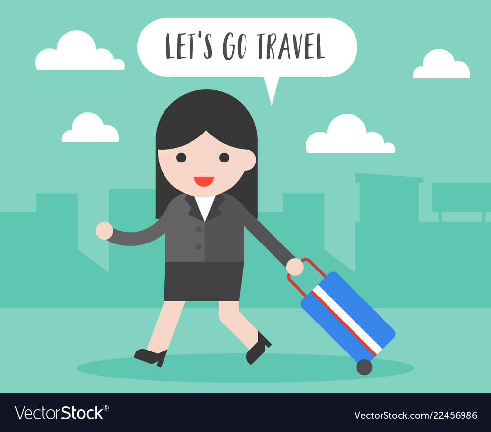 Businesswoman pull travel luggage lets go travel