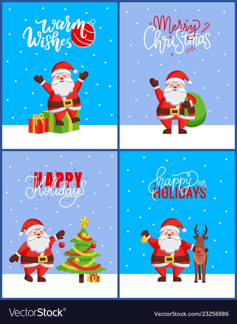 Christmas 2019 posters set new year tree and santa