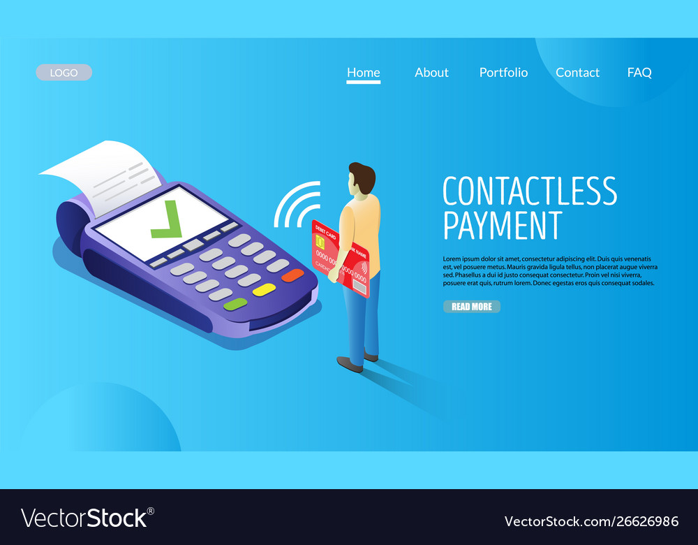 Contactless payment website landing page vector