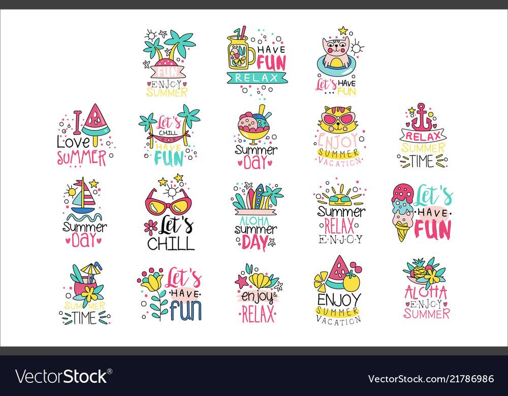 Cute summer labels set enjoy summer vacation hand