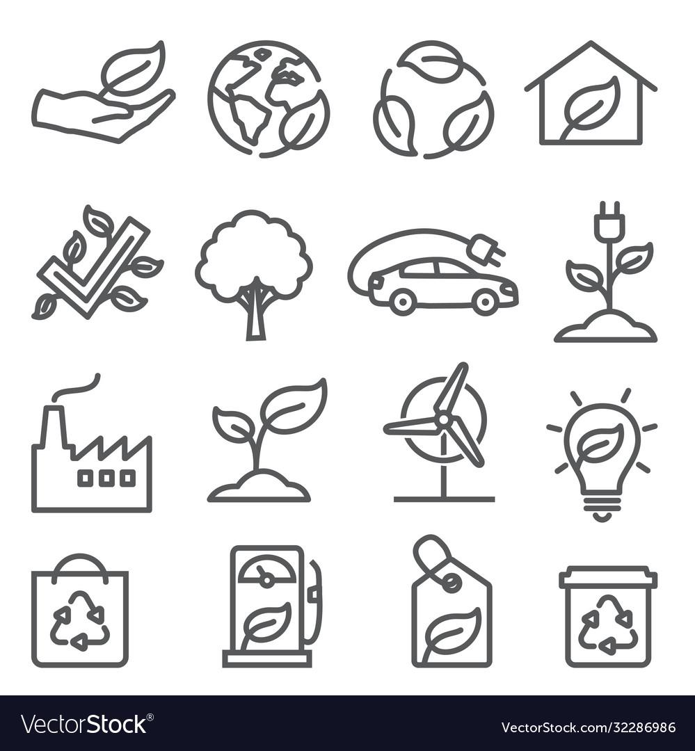 Ecology line icons set on white background