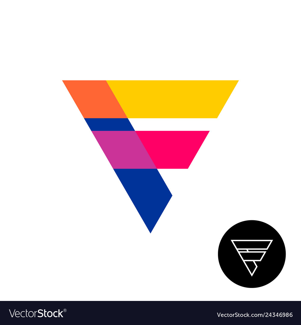 Letter f triangle logo with overlay opacity