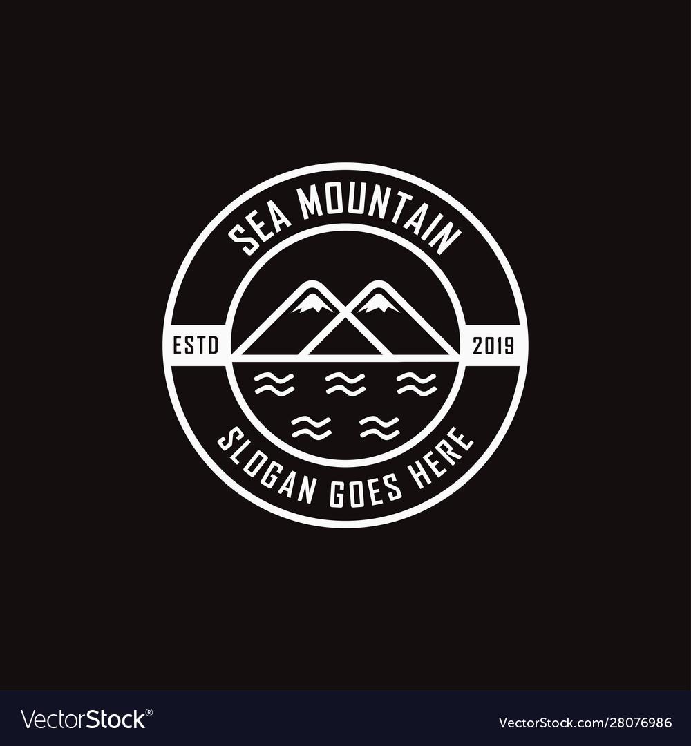 Modern vintage sea and mountain landscape logo