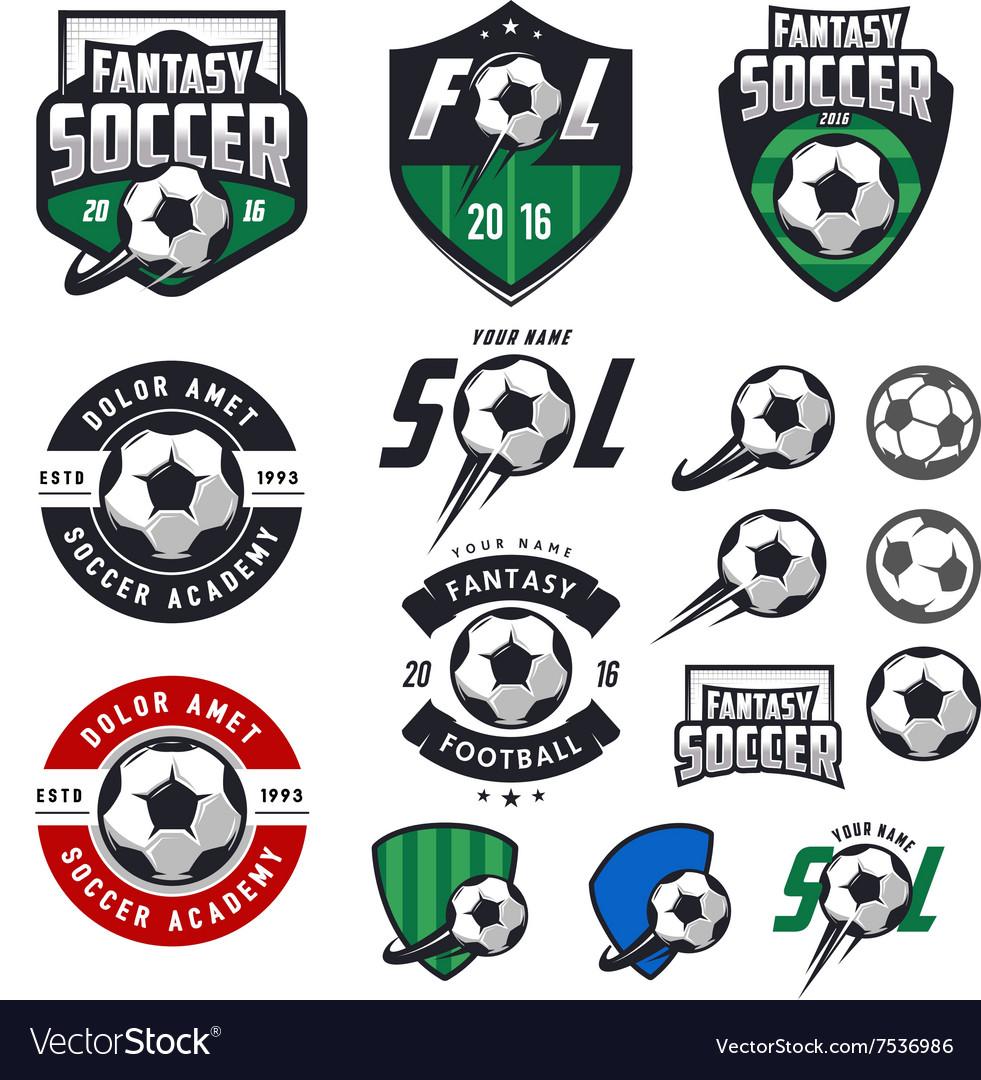 Set soccer labels emblems and design elements