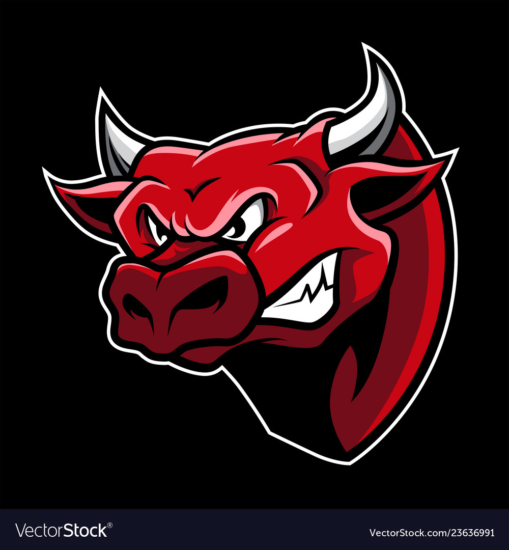 Angry bull head mascot in cartoon style