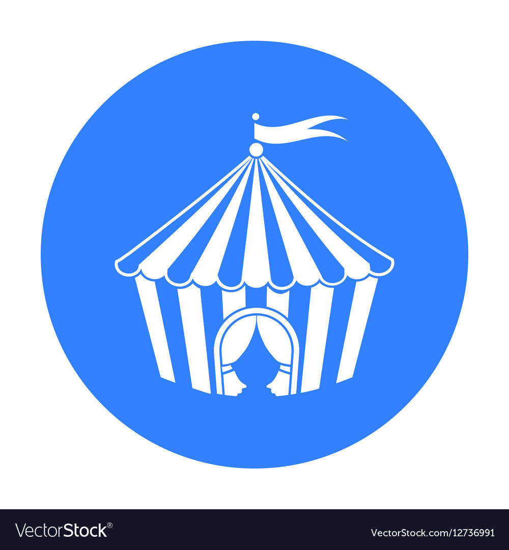 Circus tent icon in black style isolated on white