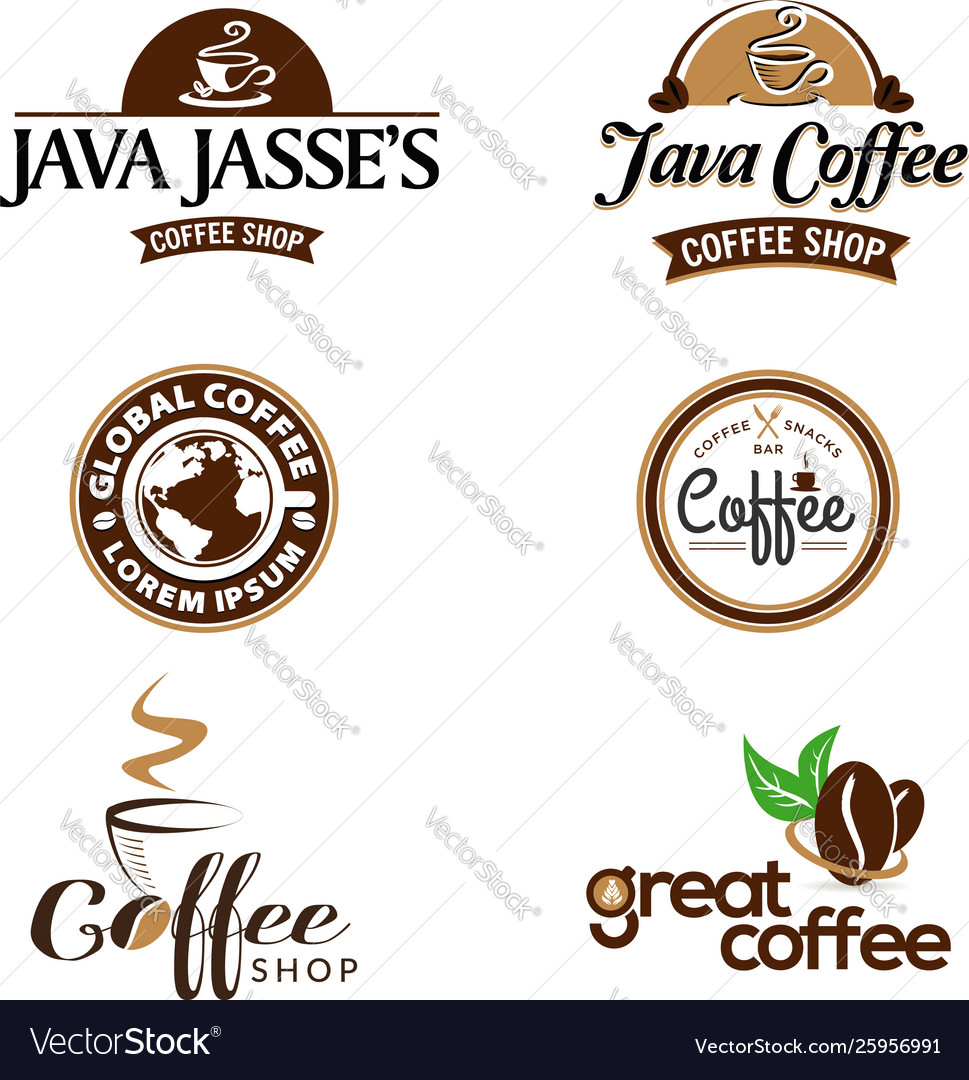 Coffee shop business logo set collection
