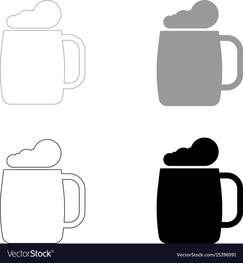 Glass of beer the black and grey color set icon