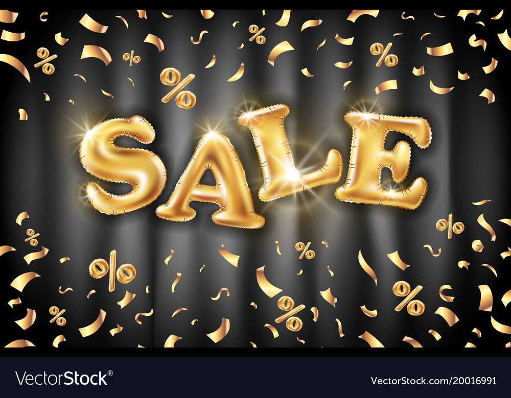 Gold sale balloons background on black curtain