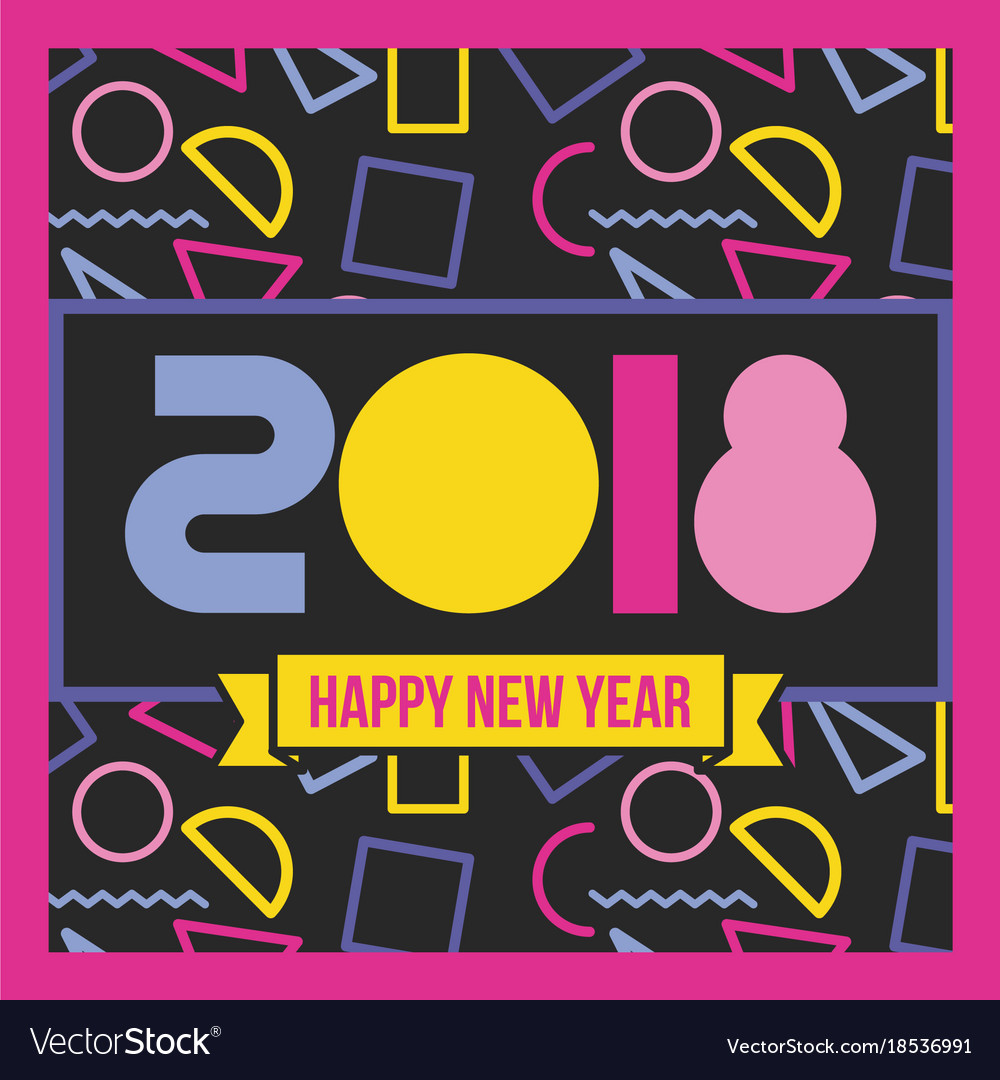 happy new year 2018 poster geometric banner black vector image
