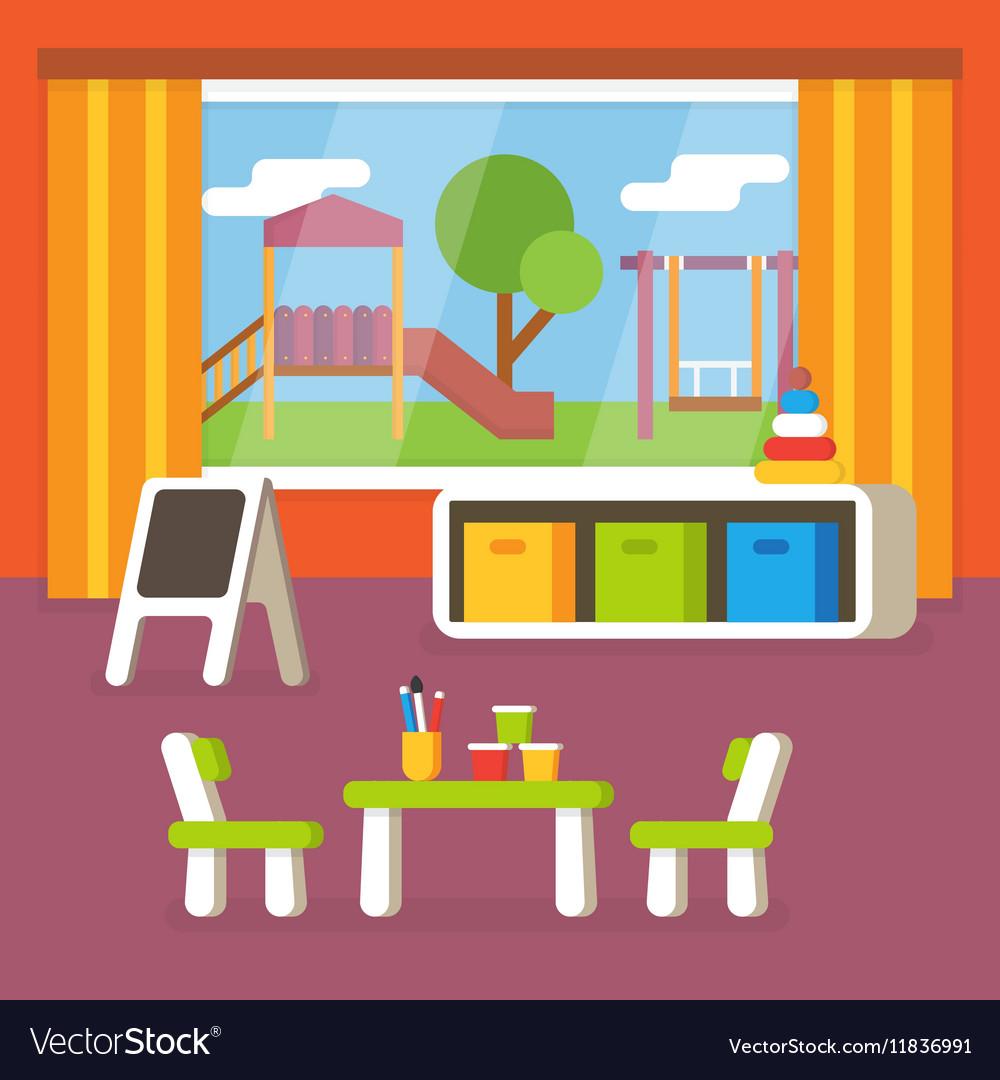 Kindergarten Classroom Preschool Room Interior Vector Image On VectorStock
