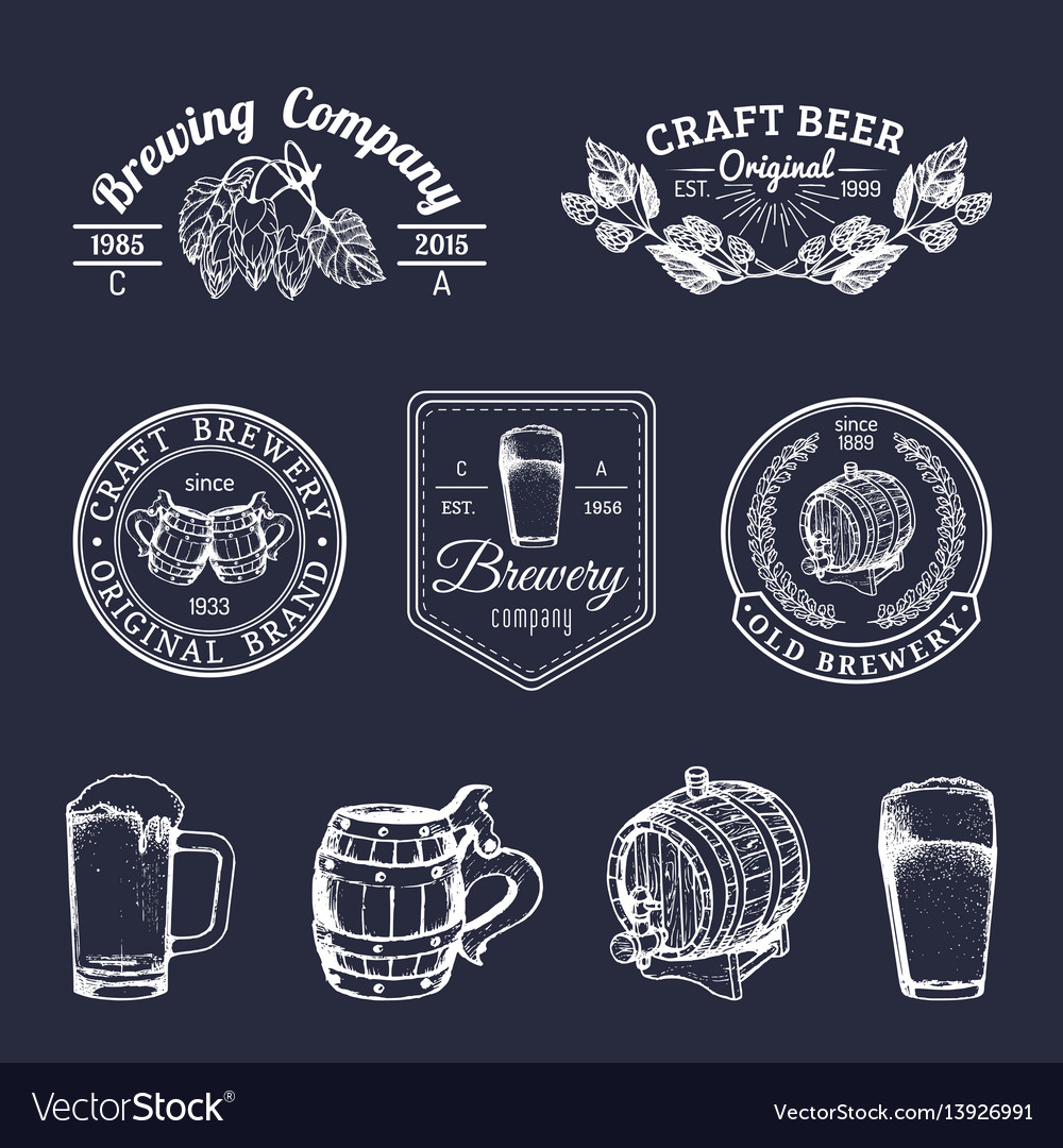 Old brewery logos set kraft beer retro signs with