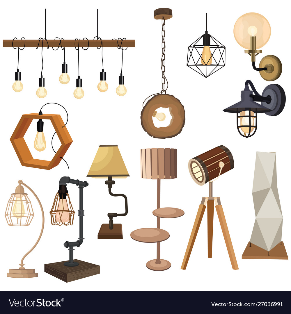 Set lamps in loft style collection of