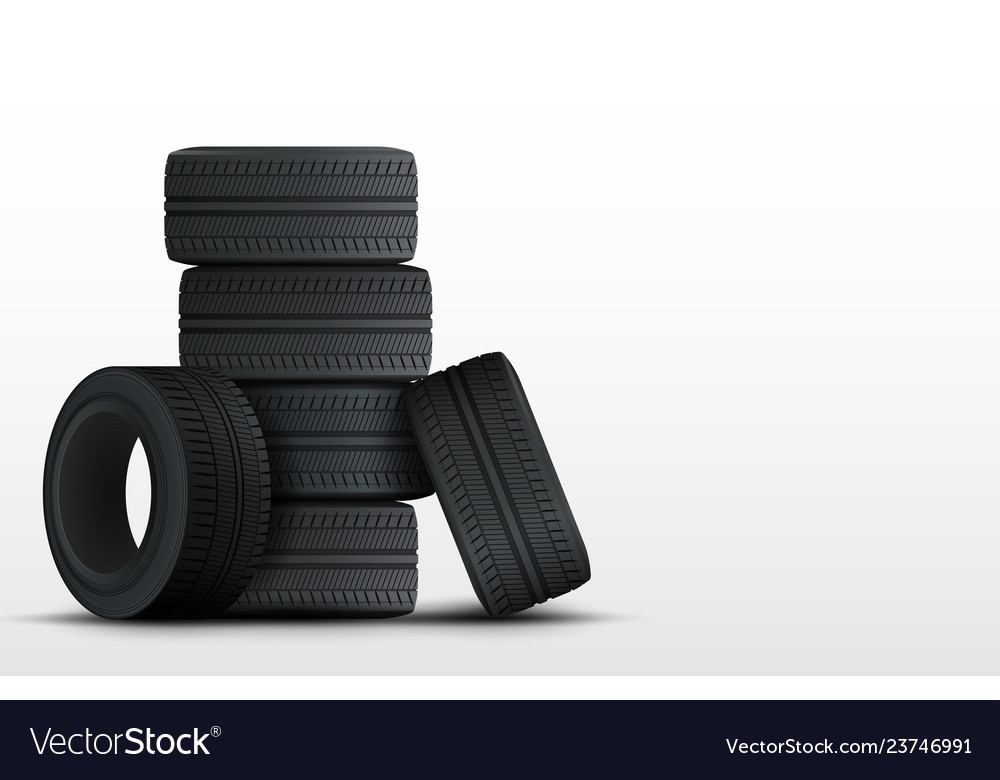 Set of tires and car wheels template