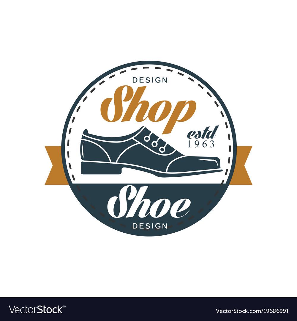 shoe shop logo estd 1963 vintage round badge for vector image