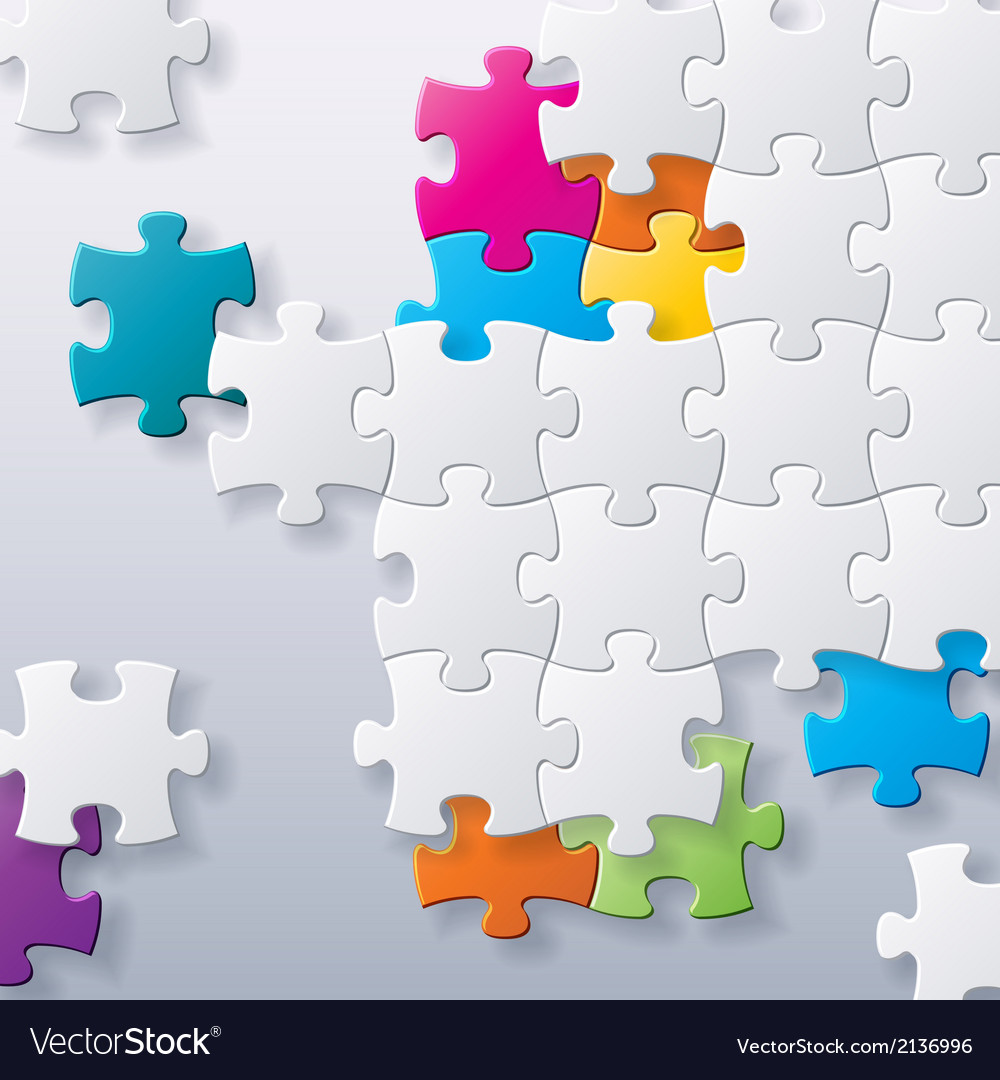 Abstract concept puzzles background vector image