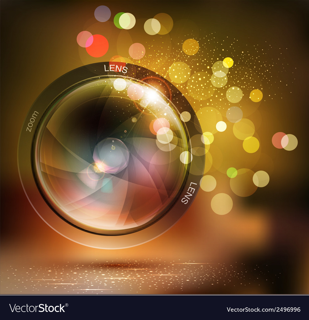 Background with photo lens and bokeh vector image