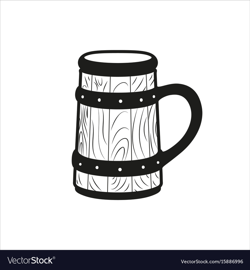 Beer stein retro icon in simple monochrome style vector image