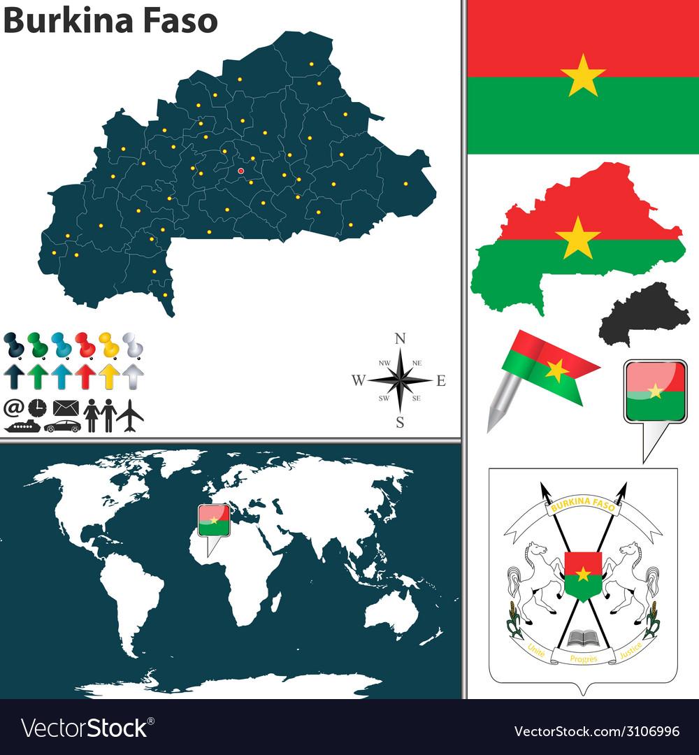 Burkina Faso Map World Royalty Free Vector Image