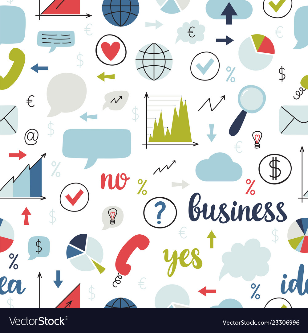 Business seamless pattern set of icons for