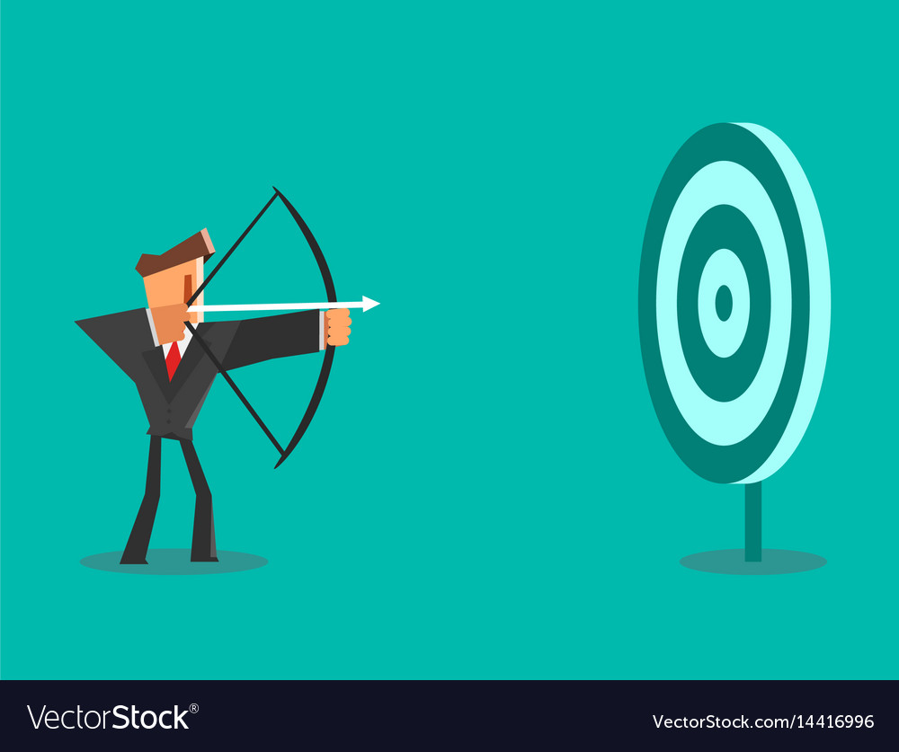 Businessman aiming target business concept