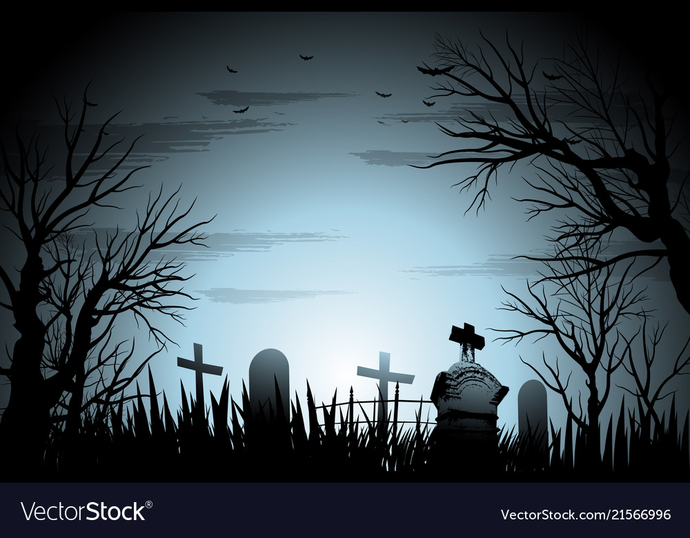 Creepy cemetery halloween background with tree and