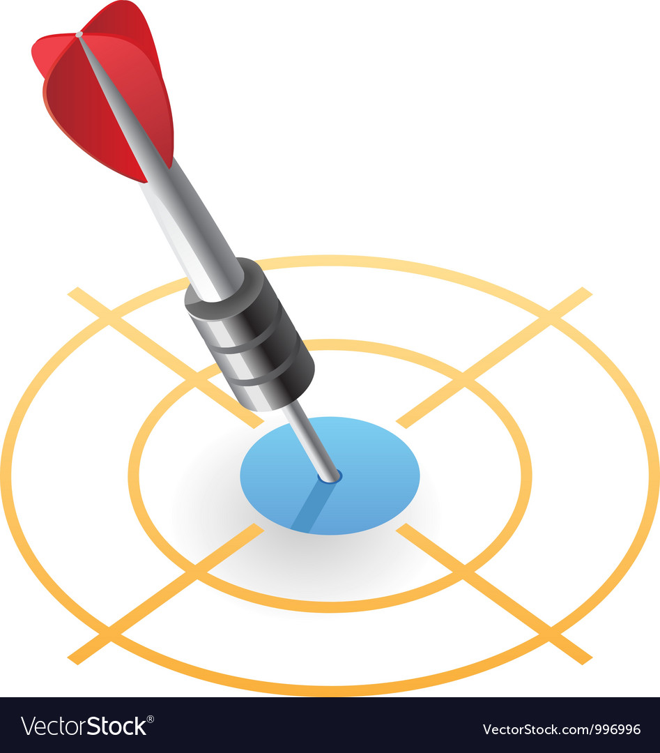 Isometric icon of dart in target vector image