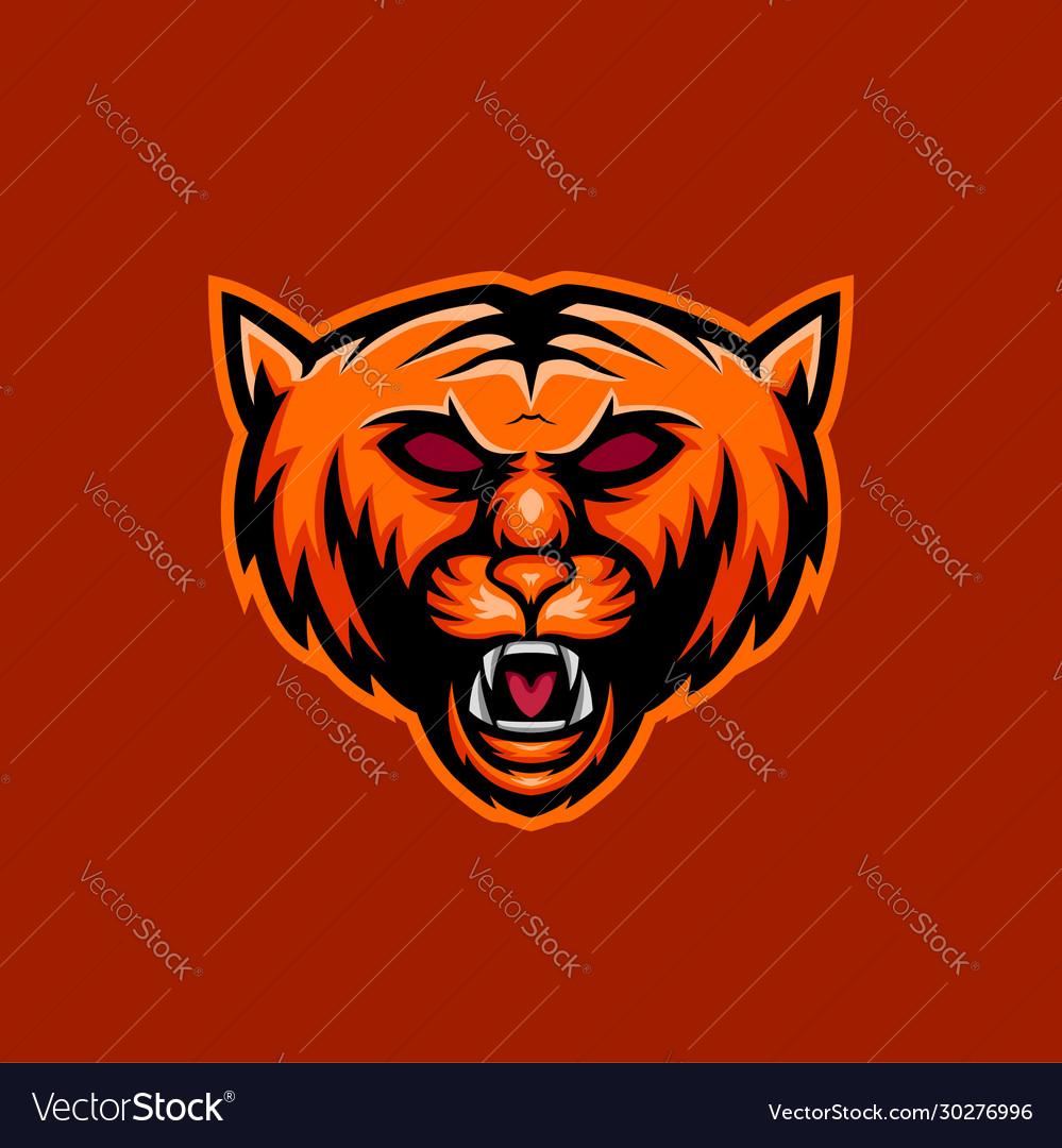 Orange wild cat mascot logo