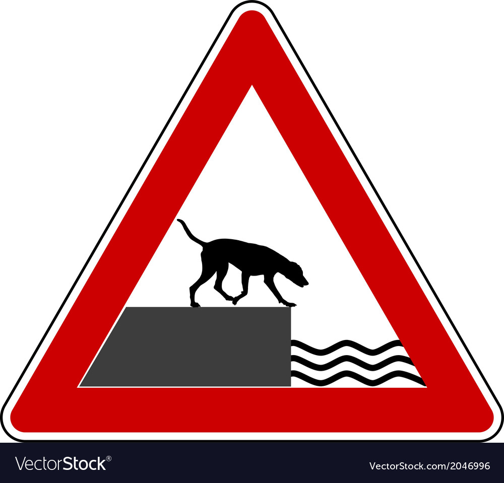Road ending warning sign for dogs