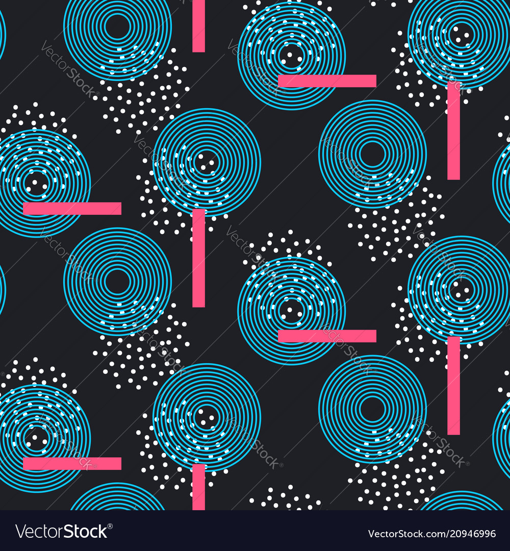 Seamless pattern with abstract line circles